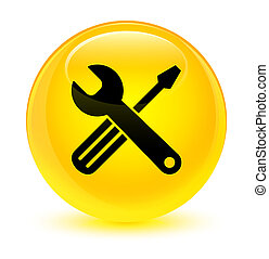 Tools icon glassy yellow round button