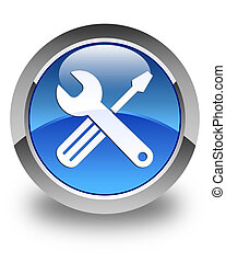 Tools icon glossy blue round button