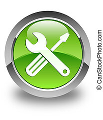 Tools icon glossy green round button