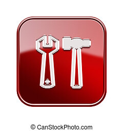Tools icon glossy red, isolated on white background
