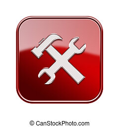 Tools icon glossy red, isolated on white background.