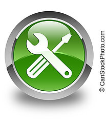 Tools icon glossy soft green round button