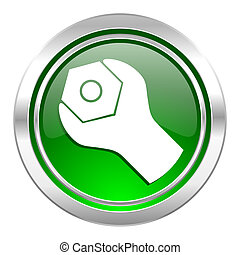 tools icon, green button, service sign