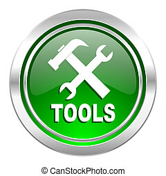 tools icon, green button