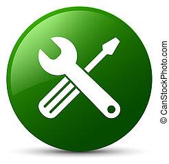 Tools icon green round button
