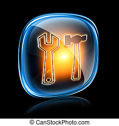 Tools icon neon, isolated on black background