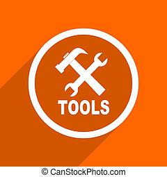 tools icon. Orange flat button. Web and mobile app design illustration