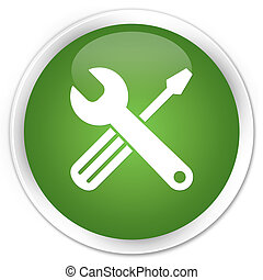 Tools icon premium soft green round button