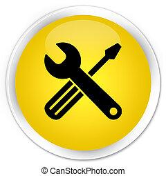 Tools icon premium yellow round button
