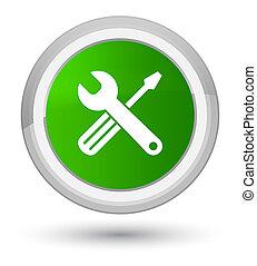 Tools icon prime green round button