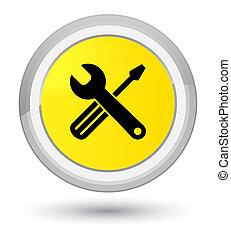 Tools icon prime yellow round button