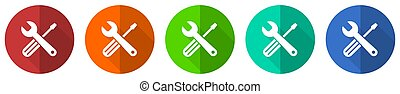 Tools icon set, red, blue, green and orange flat design web buttons isolated on white background, vector illustration