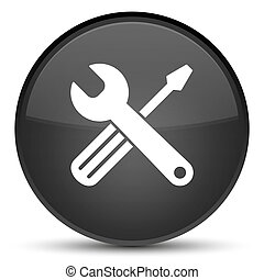 Tools icon special black round button