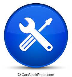 Tools icon special blue round button