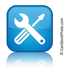 Tools icon special cyan blue square button