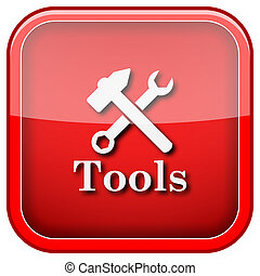 Tools icon - Square shiny icon with white design on green...