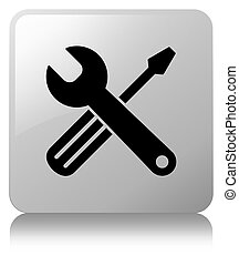 Tools icon white square button
