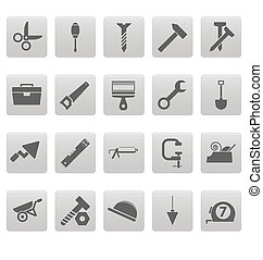 Tools icons on gray squares