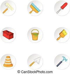 Tools icons set, cartoon style