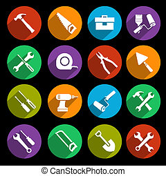 Tools icons set - Construction or house renovation working ...