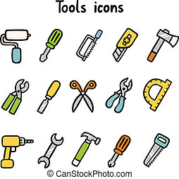 Tools icons set of 15 items