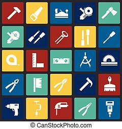 Tools icons set on color squares background for graphic and web design, Modern simple vector sign. Internet concept. Trendy symbol for website design web button or mobile app.