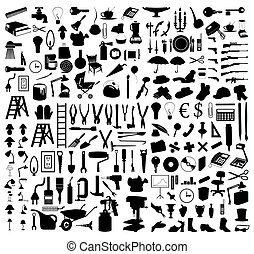 tools., ilustrace, silhouettes, vektor, rozmanitý, předměty