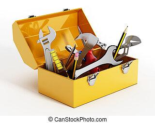 tools., ilustracja, ręka, żółty, skrzynka na narzędzia, 3d