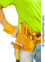tools in belt on worker