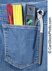 Tools in pocket jeans