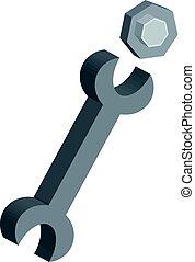 tools., isolé, arrière-plan., industriel, boulon, clã©, blanc, 3d