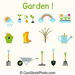tools., jardinage, jardin, items., ensemble, divers