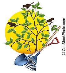 tools., jardinage, râteau, équipement, arbre., vector., pelle