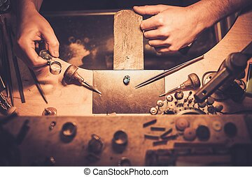 tools., joyería, escritorio, arte, profesional, elaboración
