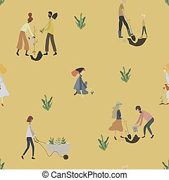 tools:, lattina, carriola, seamless, uomini, gardening., modello, donne, watering pianta, pala, persone