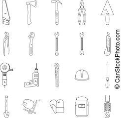Tools line icon set