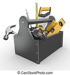 tools., młot, wrench., handsaw, skrzynka na narzędzia, ...