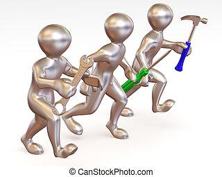 tools., maintenance., ember, három