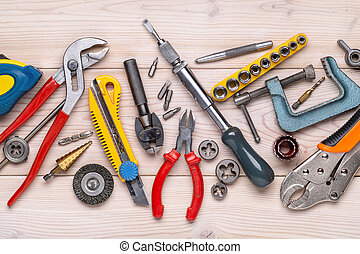tools., maison, photo, close-up., journalier, outils, studio, work., coup, divers, réparation