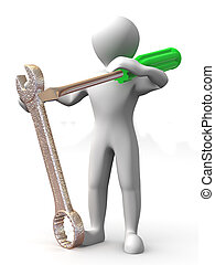 tools., mantenimiento, hombre