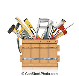 Tools of the carpenter, locksmith and carpenter in a wooden ...