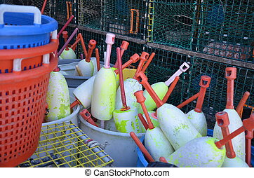 Tools of the trade - Bouys for marking traps on a lobster ...
