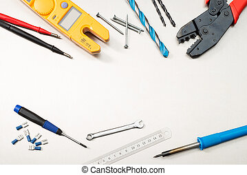 Tools of the trade for an electrician - Various electrician ...