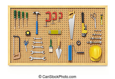 Tools on a Pegboard - 3D illustration