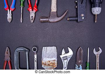 Tools on black background