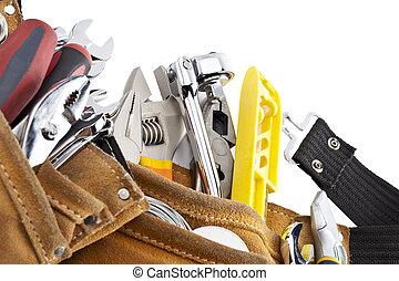 tools on construction belt