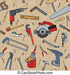 Home construction tools on a seamless wood pattern.