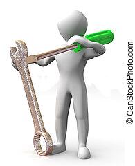 tools., onderhoud, man