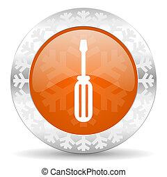tools orange icon, christmas button, service sign