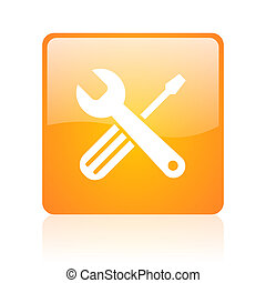 tools orange square glossy web icon